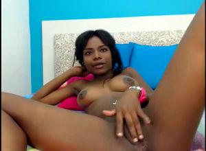 Adorable ebony young woman demonstrate..