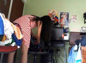 Adorable latina maiden changing,..