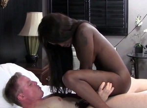 Naughty ebony girl rails milky cock,..